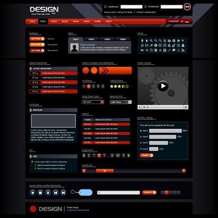 Elementos de diseño Web 5 (Dark Theme)  Foto de archivo - 7821809