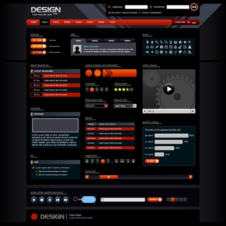 pagination: Web Design Elements 5 (Dark Theme)