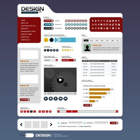 layout design: Web Design Elements 6 (Bright Theme) Illustration