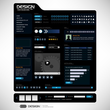 web navigation: Web Design Elements 6 (Dark Theme)