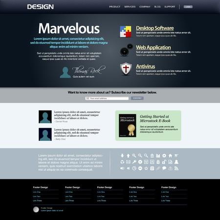Web Design Template 8 (Dark Theme)  矢量图像