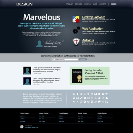 web navigation: Web Design Template 8 (Dark Theme)  Illustration