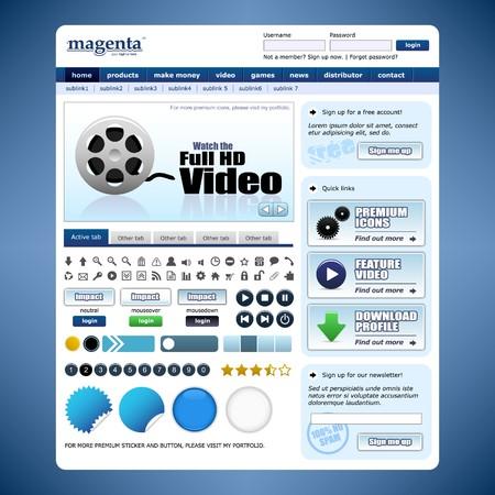Web Design Template 10 (Blue Theme) Stock Vector - 7821811