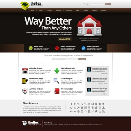 Web Design Template Element 14 (Dark Theme) Stock Vector - 7821814