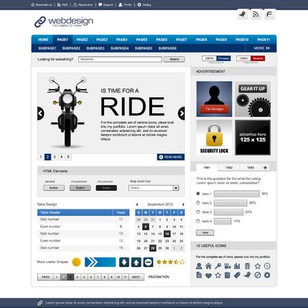 web side: Plantilla de dise�o del elemento de p�gina Web Vectores