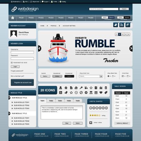 blog design: Web Website Element Design Template Blue Vector Illustration