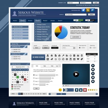 sub menu: Web Design Template Element Frame Illustration