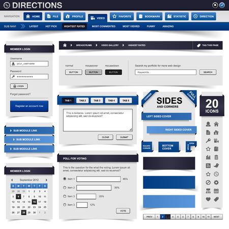 web site design template: Web Design Element Blue