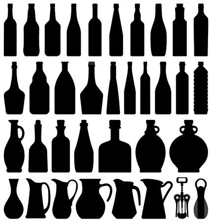 likeur: Wijn bier fles silhouet