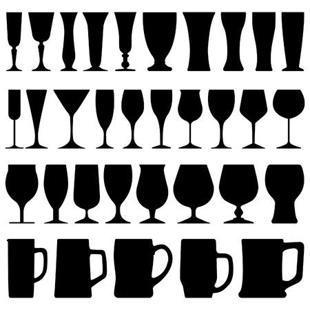 verre: Coupe de verre de bi�re vin Illustration