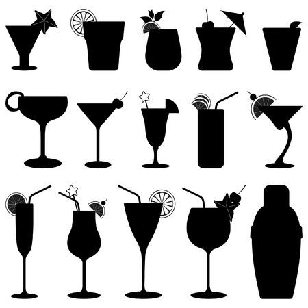 round glasses: C�ctel silueta de jugo de fruta de bebidas Vectores