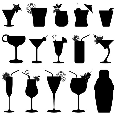 champagne glasses: Cocktail Drink Fruit Juice Silhouette Illustration