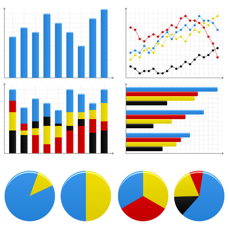 Bar Pie Graph Chart Vector
