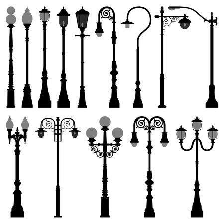 lamp silhouette: Lamp Post Lamppost Street Road Light Illustration