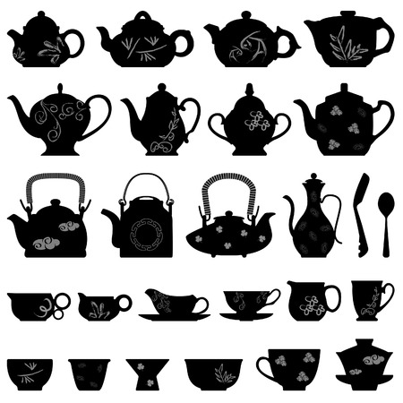 Tea Teapot Cup Chinese Japanese Asian Oriental Stock Vector - 8513569