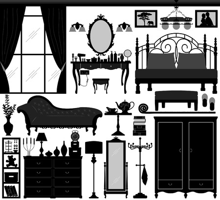 bedroom interior: Bedroom Home Interior Design Set Black Illustration