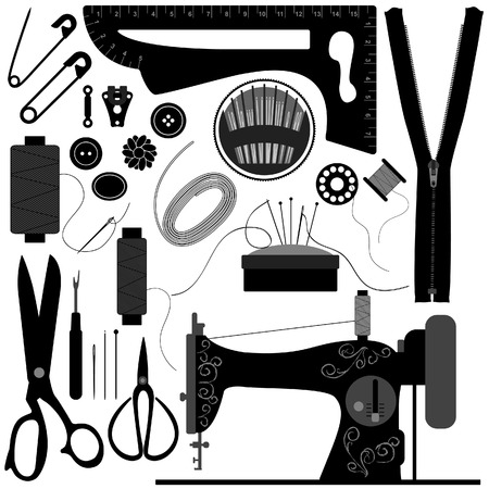 Naai Tailor Retro Black Vector Illustratie
