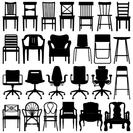 Chair Black Silhouette Set Vector