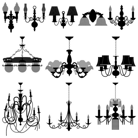 lampen: Chandelier-Leuchte Illustration