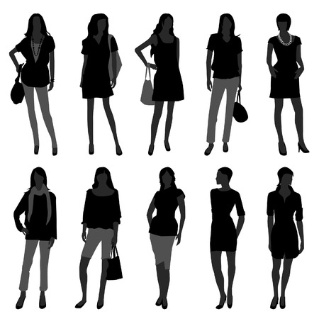 Woman Female Girl Fashion Shopping Model Vector Illustration