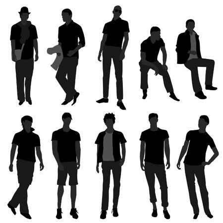 Hombre hombres moda masculina de modelo de compras Ilustración de vector