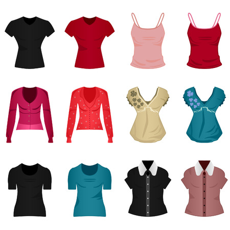 Female Woman Girl Shirt Blouse Tops Cloth Clothing Wear Stock Vector - 8513557