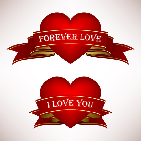Valentine Love Heart Ribbon Scroll Banner Vector