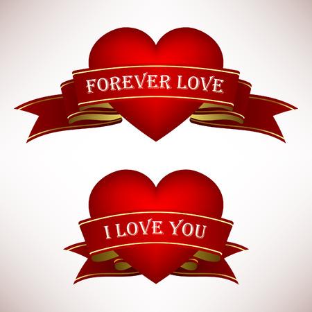 love words: Valentine Love Heart Ribbon Scroll Banner