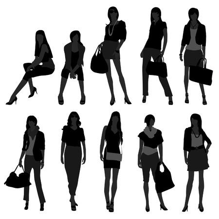 Woman Female Girl Fashion Shopping Model Stock Vector - 8723512
