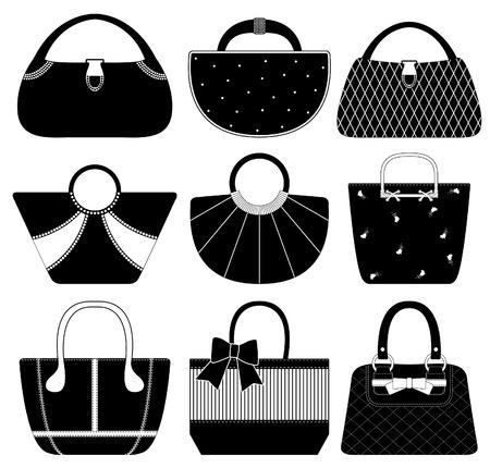Vrouwelijke tas hand tas hand tas mode vrouw Vector Illustratie