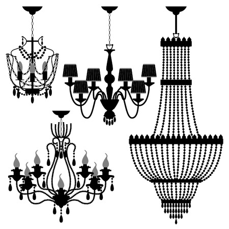 chandelier isolated: Chandelier Black Silhouette Illustration