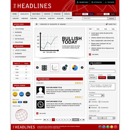 Web Website Design Element Template Stock Vector - 8723521
