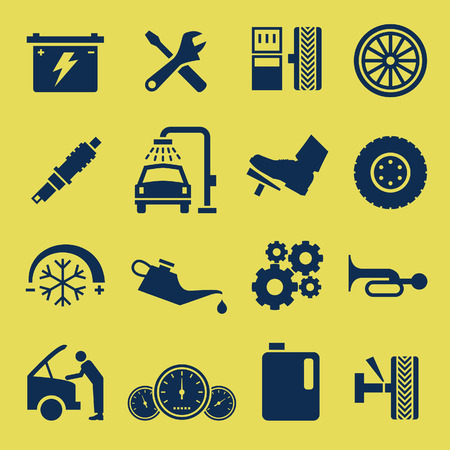 fix gear: Auto Car Repair Service Icon Symbol Illustration