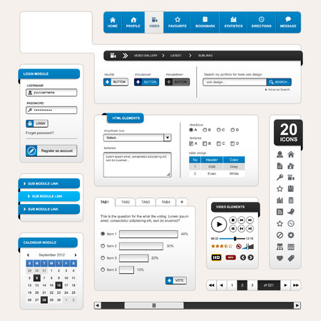 pagination: Web Design Element Blue