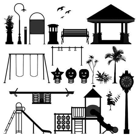 banc de parc: �quipement de terrain de jeu parc jardin