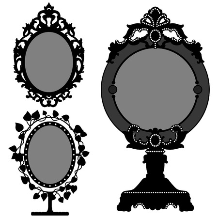 vanity: Mirror Ornate Vintage Retro Princess Illustration
