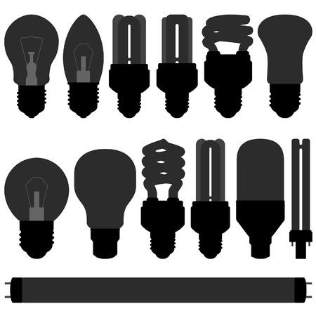fluorescent light: lightbulb light bulb lamp set Illustration