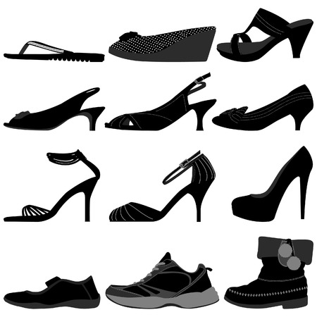ふだん着: 女の子女性女性靴履物  イラスト・ベクター素材