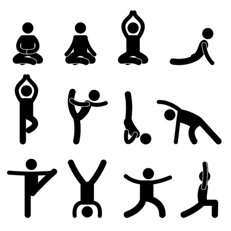 relaxation exercise: Yoga Meditation Exercise Stretching People Icon Illustration