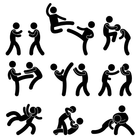 Fight Fighter Muay Thai Boxing Karate Taekwondo Wrestling Kick Punch Grab Throw People Stock Vector - 11102674