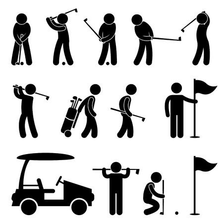Golf Golfer Swing Mensen Caddy Caddie Pictogram Vector Illustratie
