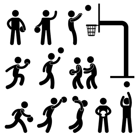 leaping: Basketball Player People Icon Sign Symbol Pictogram