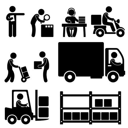 carretillas almacen: Entrega logística almacén de envío Icono Pictograma