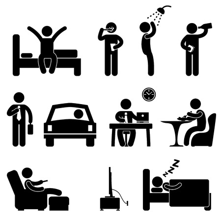 day night: Man Daily Routine People Icon Sign Symbol Pictogram