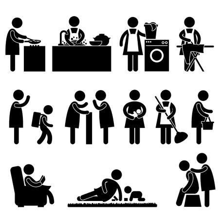 routine: Woman Wife Mother Daily Routine Icon Sign Pictogram Illustration