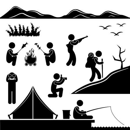 Trekking Selva Senderismo camping Campfire Aventura Ilustración de vector