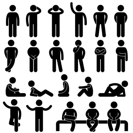 legs spread: Uomo di base Postura Persone Icona Segno Pittogramma Simbolo Vettoriali