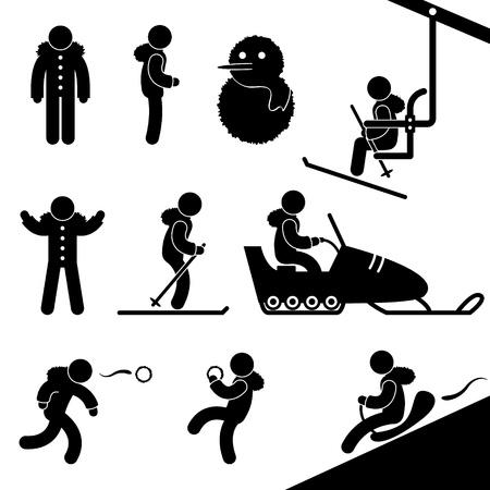 pictogramme: Activit� t�l�si�ge hiver Ski Motoneige Tra�neau Lutte neige