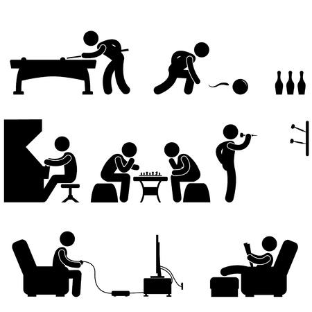 piktogram: Klub kryty basen krÄ™gielnia Snooker aktywny Szachy Video Game Ilustracja