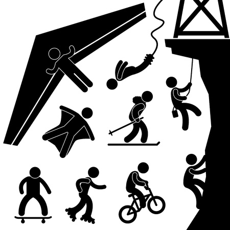 rock climb: Extreme Sport Hang Glider Bungee Jump Rock Climb Skating Illustration